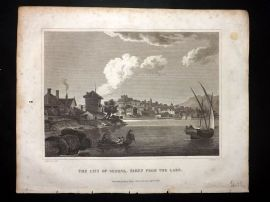 Clarke C1820 Antique Print. The City of Geneva taken from the Lake. Switzerland